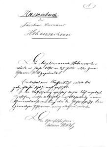 Faksimile: Kassenbuch des Cäcilien-Vereins Hohensachsen.
